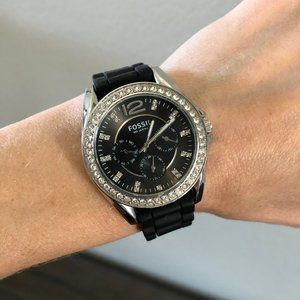 Fossil Crystal & Black Silicone Watch